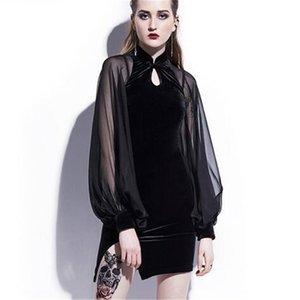 2020 nouveau chinois Original Design automne velours robe lanterne manches maille couture mince gaine Cheongsam robe noir robe de fête