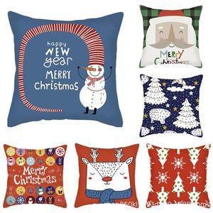 2020 Pillow Case Cover 45x45cm Merry Christmas Santa Claus Cushion Cover Decoration Car Home Sofa Decorative Pillowcase Throw
