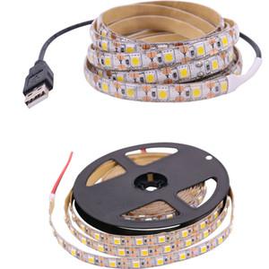 DC 5 V USB Interface LED Adhesive Tape SMD 5050 Strip Light Lamp 50CM 1M 2M 3M 4M 5M 60leds m TV Desk Lights Warm white Red Blue Green
