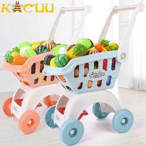 75pcs Kids Supermarket Mini Shopping Cart For Girls Kitchen Play House Trolley Toys Simulation Fruits Pretend Toys Children gift 200928