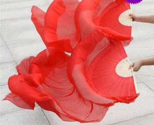 Kids Plain White Belly Dance Fan Veils Silk Hand Fan Belly Dancer Stage Practice Fans 120cm Solid Purple Blue Red Free Shipping