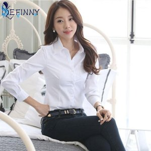 ZH Summer Women Office Lady Formal Party Long Sleeve Slim Collar Blouse Casual Solid White Shirt Tops1
