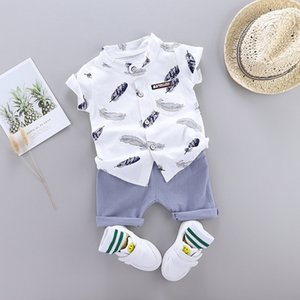 Boy Summer Clothes Set for Kid Baby Clothing Suit New Fashion Feather Print Set Infant Toddler Boys Clothes Set LJ200814