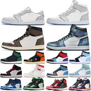Shoes Jumpman 1 Royal Toe Pine Green Court Purple 1s Obsidian Tie Dye Smoke Grey UNC Mens Womens Sports Sneakers Online Sale