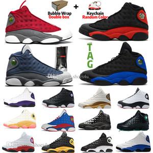 13 13s CNY Basketbol Ayakkabı Bred çakmaktaşı Şapkanız Chicago Kara Kedi Kırmızı FlintIsland Green Court Mor Lakers spor spor ayakkabıları mens