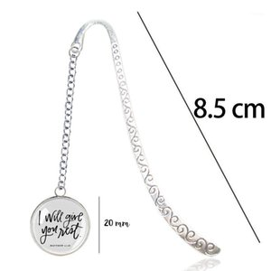 Matthew 11:28 Scripture Bookmark Pendant - Come to me, all you who are... I will give you rest - Bible Verse Encouragement Gift1