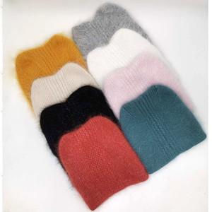 [Rancyword] Winter Hats For Women Wool Knitted Angora Hat Beanies Female Warm Rabbit Fur Skullies Beanie For Girl lovely hat 201009