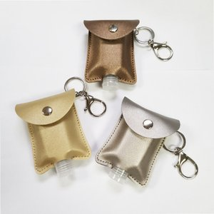 PU Leather 30ML Disposable Hand Sanitizer Bottle Holder Keychain Perfume Soap Holster Key Rings with 30ml Bottle 10.5*7cm CCE2106