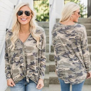 Sexy V neck Cardigan Camouflage Top Fashion Casual Printed T Shirt New Style Long Sleeve Shirt Women T