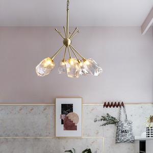 Nordic creative LED Chandelier lighting Copper Glass  hanging lamp for living room restaurant bedroom home deco fixtures