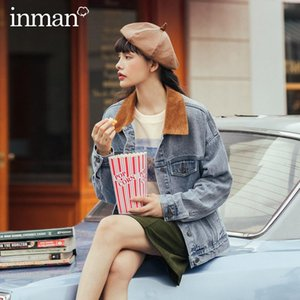 Estilo Retro INMAN 2020 Outono Inverno New Arrival Moda coreana solto Forma Mulheres Jeans Jacket Brasão