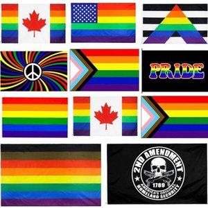 90x150cm Philadelphia phily Straight Ally progress LGBT Rainbow Gay Pride Flag US Constitution 2nd Second Amendment flag