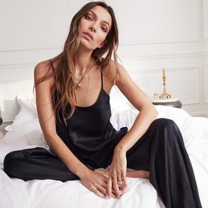 Hiloc Backless Sexy Satin Black Lace Pijamas com calças soltas Spaghetti Strap intimate lingerie Pijamas Mulheres Pj Set