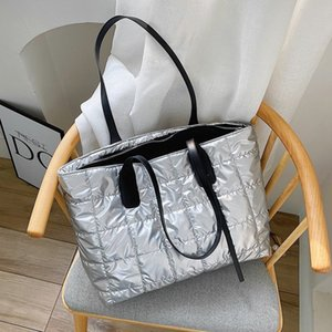 2020 Winter New Space Pad Cotton Down Bag For Women Fashion Rhombic Lattic Shoulder Bags Large Capacity Handbags Bolsa Feminina Q1230