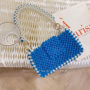 Handgemachte Frauen Pearl Taschen Perlen Umhängetaschen Charme Acryl Perlen Tasche Weiße Perlen Crossbody Bag Abend Clutch Geldbörse Lady 2021