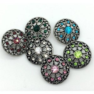 Noosa Snap Button Rhinestone Chunk Charm Button 18mm Interchangeable Flower Hollow Style Jewelry For Ginger wmtkTS dh_seller2010