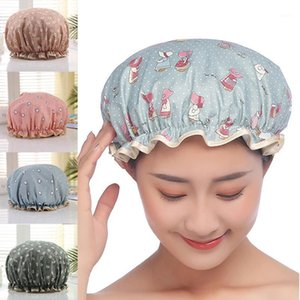 1 pz Cover per capelli Prodotti per il bagno Polyester cotone Cappelli doccia in cotone doppio strato multicolor impermeabile berretto da bagno cartoon1