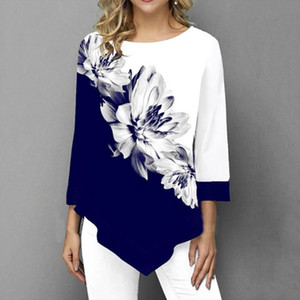 Shirt Women Spring Autumn Printing O neck Blouse 3 4 Sleeve Casual Hem Irregularity Female fashion shirt Tops Plus Size