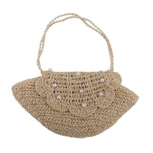 AUAU-Crochet Shell Pearl Handmade Woven Bag Casual Women's Straw Bag Beach Messenger Bags Tote Bags for Women