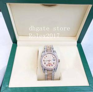 2021 MENS Classic Rose Gold Silver Iced Out Numerales árabes Reloj con hombres Movimiento automático de barrido de auto viento 36mm Reloj deportivo para hombres