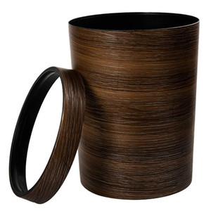 HIPSTEEN Retro Style Pressing Ring Plastic Trash Can Household Office Mimetic Wood Grain Garbage Bin - Dark Brown C0930