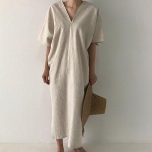 Vintage Long Maxi Dress Women Casual Short Sleeve Loose Party Dress Oversized Summer Ankle-Length V-Neck Korean 2021