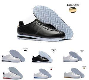 Classic Nike Cortez Basic Leather Casual Shoes Hombres de moda baratos Mujeres Negro Blanco Rojo Golden Skateboarding Sneakers Tamaño 36-45
