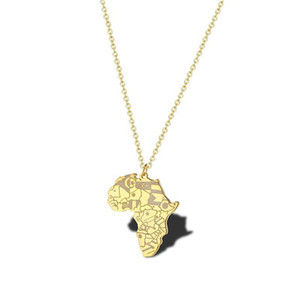 RIR Africa Country Map Necklace Golden African Tribal Map Pendant Africa Details Continental Custom Jewelry Father's Gift