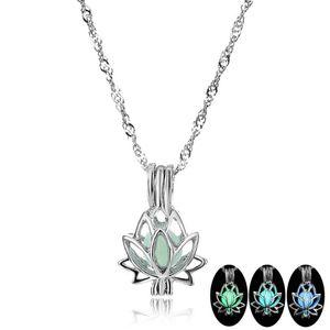 Famshin Fashion Lotus светящиеся кулон ожерелье 3 цвета Chare цепи кулон светящийся камень темный выступление ожерелье партия украшения