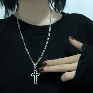 Necklace Vintage Gothic Hollow Cross Pendant Necklace Silver Color Cool Street Style Necklace For Men Women Gift hot sell Neck Jewelry