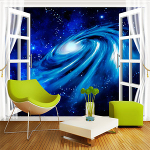 Custom Photo Mural Non-woven Wallpaper Wall 3D Stereo Window Scenery Starry Galaxy Large Murals Wallcovering Papel De Parede