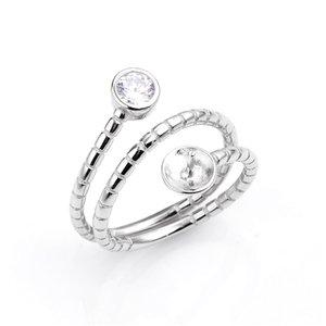 Змея Shaped кольцо с цирконом ювелирные изделия Bijoux 925 Sterling Silver Ring Base DIY выводы 5 шт