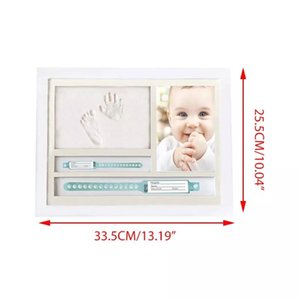 Newborn Hand and Foot Prints Print Mud Photo Frame One Year Old Baby Infants Gifts Commemorative Table Decoration Frames AXYA