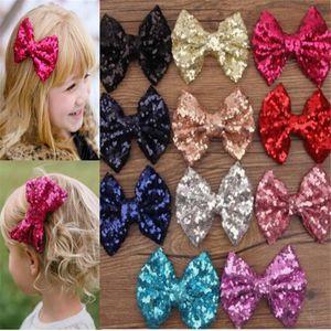 Big Pailletten Hair Bow Mode Clips Mädchen Pailletten Haarnadel Ins Kids Große Bowknot Barrettes Party Prinzessin Kopfschmuck Haar ACC Geschenke LY122103