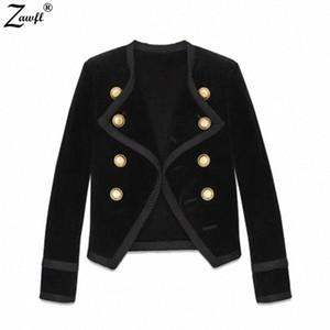 ZAWFL Runway Autunno Inverno del rivestimento delle donne del cappotto 2019 Designer Black Velvet Doppio Petto lungo Slim manica corta cappotto OCIS #