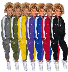 Campeones de mujer de marca Diseñador chándal Otoño Invierno Trajes de manga larga de 2 pedazos Hoodies + pantalones de deporte del basculador traje suéter 2180