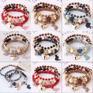 Bohemian frisado pulseiras para mulheres 6 cores Multicamadas Esticão empilhável pulseira conjunto multicolor jóias pulseira de natal presente 323 n2