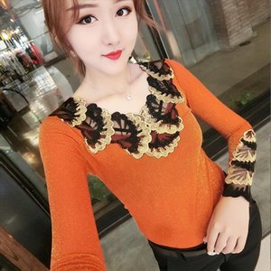 Fashion European Sexy Patchwork Embroider Tshirt 2020 New Autumn Winter Top Shiny Clothes Camiseta Mujer Bottoming Shirt T99701