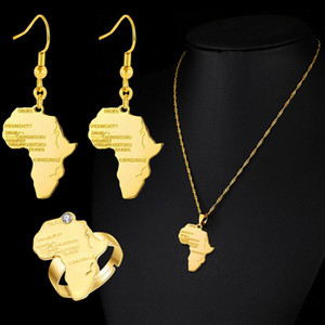 4pcs Jewelry Set Wedding Fashion Gifts For Women Africa Map Hip Hop Pendant Necklace Earrings Ring Sets
