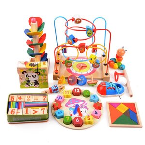 14pcs / набор деревянных Counting Трехмерные головоломки Круглые Круги из бисера Проволока Maze горках игрушки для детей Детские Ранние Развивающие игрушки