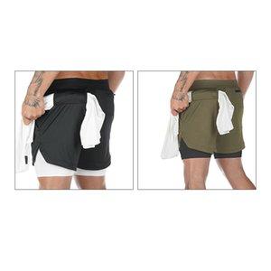 Йога ТОП! -Men тренировочный Quick Dry Running Shorts 2 в 1 спортивных Беге Фитнес шорт