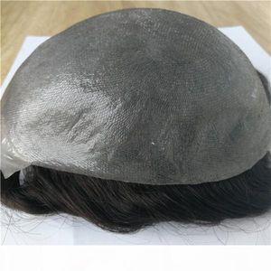Piel delgada 100% Hombres humanos Hombres Toupee Pelucas para hombre Todos Poly Hair Reemplazo Afro Curl Wig