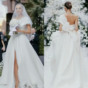Elegant A Line Wedding Dresses with Bow Sash Side Slit One Shoulder Bridal Wedding Gowns Custom Made robe de mariée P19