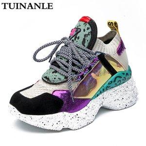 TUINANLE las botas del tobillo de las mujeres zapatillas de deporte 35-42 Plataforma Negro Botas calcetín del crin de los zapatos zapatos transpirables Mujer Chunky Casual 201020