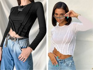 Autumn And Winter new women's wear round neck long sleeve fashion wrinkle temperament slim body exposed navel Sexy style T-shirt