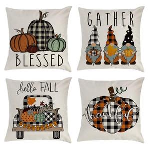 DHL Fall Pillow Covers 18x18inch for Farmhouse Decor Thanksgiving Buffalo Check Plaid Gnomes Pumpkin Outdoor Decorative Throw Pillow case
