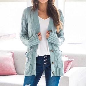 Women Sweater 2020 New Autumn winter Fashion Women Cardigans Long Sleeve Button Sweater Casual Solid Long Cardigan