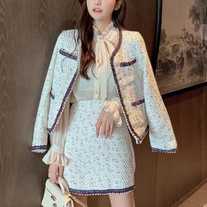 High Quality Autumn Winter Woolen 2 Piece Set Women Fashion Elegant Slim Tweed Jacket Coat + Skirt Shirt Suits Ensemble Femme