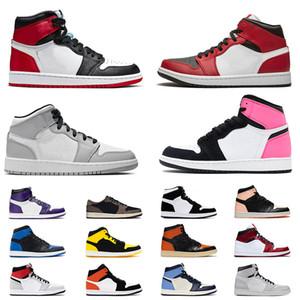 Nike Air Retro Jordan 1 High Jordans 1s Mid Low Jumpman Mens di alta qualità womens scarpe da basket fumo metà grigio chiaro Chicago valentines formatori d'aria