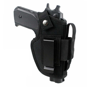 EDC tactical nylon pistol holster with metal clip, can be hidden on the inside or outside of the belt, adjustable left and right hands, suit